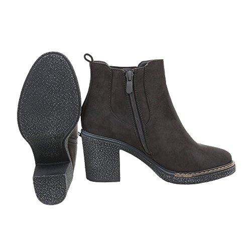 Chelsea Boots Damenschuhe Chelsea Boots Blockabsatz Blockabsatz Reißverschluss Ital-Design Stiefeletten Dunkelgrau