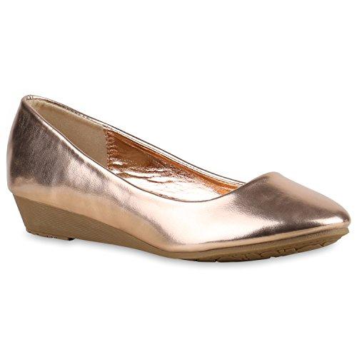Damen Pumps Lack | Velours Leder-Optik | Strass Keilpumps | Wedges Schuhe Metallic| Party Hochzeit Abiball | Brautschuhe Übergrößen Rose Gold