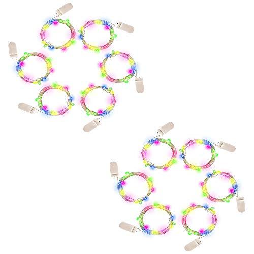 12 Pack RGB-Fee-Schnur-Licht-Batterie betrieben Mond Lichter 1M / 3.3ft 10 Micro Starry LEDs auf silbernen Draht für DIY Dekor Schlafzimmer Weihnachtsdekoration Kostüm Hochzeit ()
