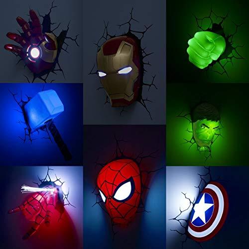 Luce Notturna Txxzn Marvel The Avengers Figura Lampada Muro Iron Man Hulk Capitan Oeroe Eroe Bambini Luce Notte Regalo Compleanno Regali Mano Ironman
