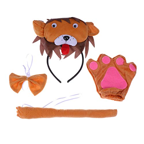 Happyyami 4pcs Kinder Löwe Kostüm Set Löweohren Stirnbänder Fliege Schwanz Handschuh Tier Cosplay Party Outfit Dekoration Set für Halloween Kinder Party (Lion Ohren Und Schwanz Set Tier Kostüm)