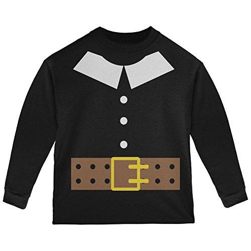 tüm Schwarz Kleinkind Langarm T-Shirt-4 t (Pilger Kostüm)