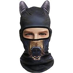 Cusfull 3D Máscara de Cara de Animal con Orejas, Casco Integral de Máscara Facial para Esquí, Ciclismo, Senderismo etc. (Oso)