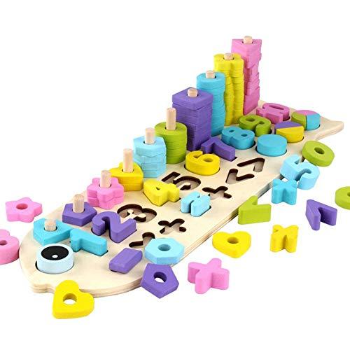 Jouet Mathématique d'apprentissage Chiffres Formes et Couleur Jeu Educatif Comptage en Bois Coloré Cadeau pour Enfants Âge 0 à 3 Ans