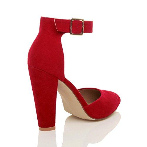Damen Hochblockabsatz Mode Schnalle Spitz Pumps Knöchelriemen Schuhe Größe Rot Wildleder