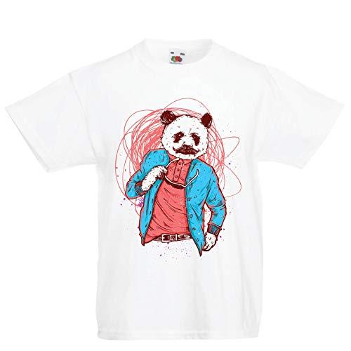 lepni.me Kinder Jungen/Mädchen T-Shirt Schicker Pandabär - Coole Grafik, Swag Mode (9-11 Years Weiß Mehrfarben) (10 Halloween-tv-specials Top)