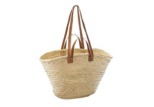 Bast-shopper (Tasche, Palmblatt, mit Ledergriffe und Lederhenkel, 50 x 21 x 36 cm)
