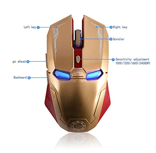 Taonology Mouse da Gioco Wireless Iron Man Mouse Bluetooth 2.4G con Ricevitore USB Nano per PC, Laptop, Computer, MacBook, Notebook, 3 Livelli di Regolazione DPI