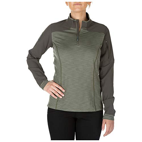 5.11Damen Rapid Half Zip Sweatshirt M salbeigrün - Kontrast-joch