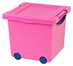 IRIS Kids Storage Basket with Lid, Pink/Blue