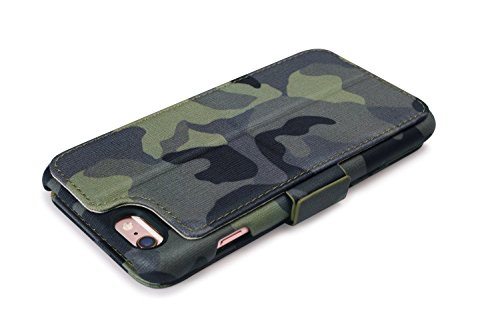 """Trop Saint ® Für iPhone 6/ 6S (4,7)"""" Echtleder Handy Hülle mit Schlitz für Kreditkarten Brieftasche Etui Hält 2 Karten - Dschungel Tarnung Brieftasche - Dschungel Tarnung"""