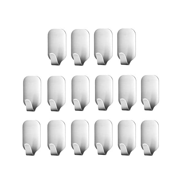 16 Pack of Self Adhesive Hooks, SMALUCK Stainless Steel 3M Adhesive Wall Hanger for Robe, Coat, Towel, Keys, Bags, Home, Kitchen, Bathroom, Water and Rust Proof 41F028R3rDL