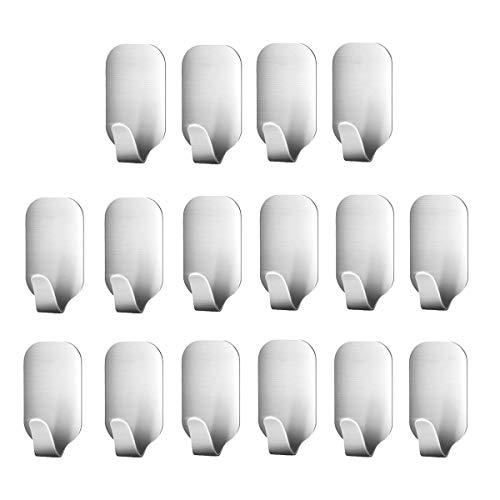 Smaluck - Paquete de 16 ganchos autoadhesivos, acero inoxidable 3M, percha de pared adhesiva para ropa, abrigo, toalla, llaves, bolsas, hogar, cocina, baño, agua y a prueba de óxido.