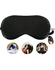 Healthgenie 100% Silk, Super Smooth Sleep Mask with Adjustable Strap and Blind Fold Eye Mask (Black)