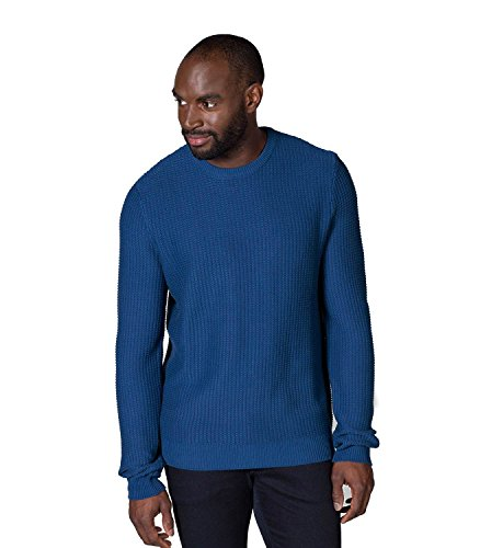 WoolOvers Pull à col rond texturé - Homme - 100 % coton Ultramarine