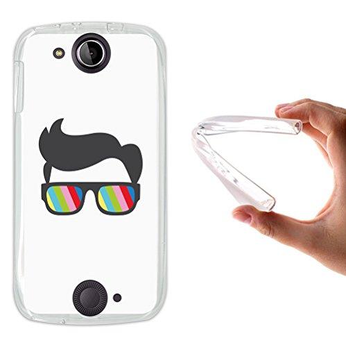 WoowCase Acer Liquid Jade S Hülle, Handyhülle Silikon für [ Acer Liquid Jade S ] Sonnenbrille und Nerd Stil Handytasche Handy Cover Case Schutzhülle Flexible TPU - Transparent