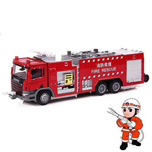 LTOOA 1:50 Modèle Voiture Camion Pompier Jouet, Jouets Combinaison Voiture D'ingénierie Échelle Monter Véhicules Sauvetage Modèle Voiture Cadeaux Noël Pâques pour Garçons, Rouge
