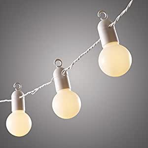 Lights4fun, Catena di 20 luci LED bianche a forma di lampadina per uso in interni ed esterni