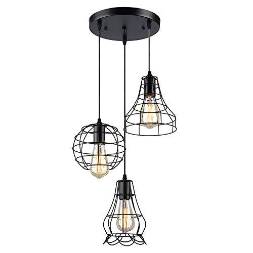 Konisk® 3-testa industriale vintage lampada a sospensione, lampadario altezza regolabile, e27 nero lampada pendente per cucina soggiorno corridoio camera da letto bar caffè ristorante salone.