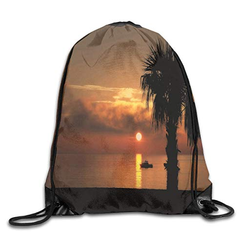 ZHIZIQIU Drawstring Bag Palm Trees Sunset One Womens Gym Backpack Fabulous Mens Travel Canvas Bags for Boys Fabulous Sheer