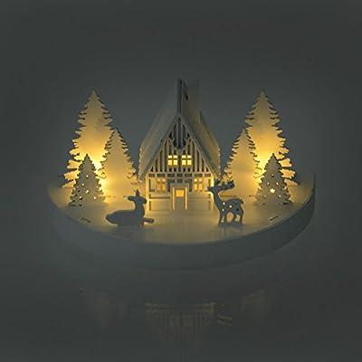 Mr Crimbo 3d White Wooden LED Lit Christmas Scene Decoration