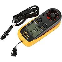 Anpress Anemómetro digital con pantalla LCD de mano, medidor de velocidad del viento, temperatura y viento con retroiluminación, para radiadores RC y helicópteros, para navegación, navegación, pesca