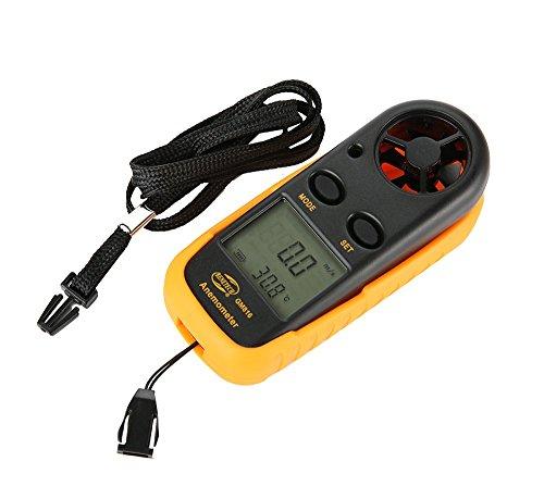 Anpress Anemómetro digital con pantalla LCD de mano, medidor de velocidad del viento,...