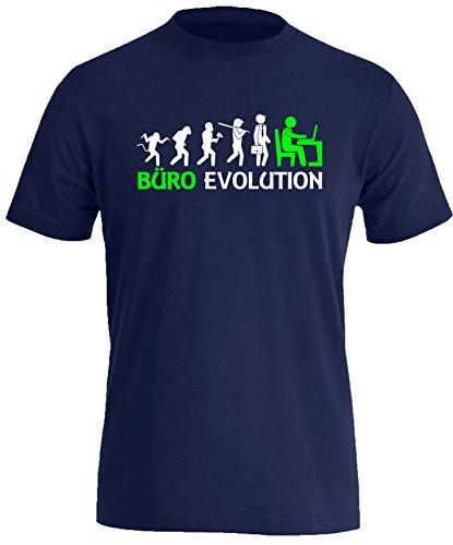 Büro Evolution - Herren Rundhals T-Shirt Navy/Weiss-neongruen