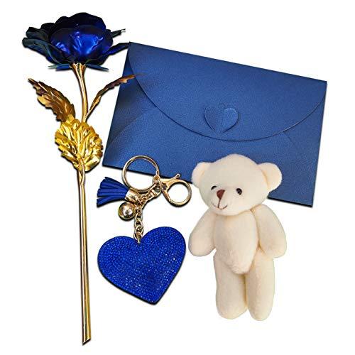Goldblauer Rosen-Blumen-Teddybär 3D Grüße lieben Sie Karte und blaues Herz-Schlüsselring-Jahrestags-Geburtstags-Geschenk für ihre Frauen-romantischen Geschenke ()