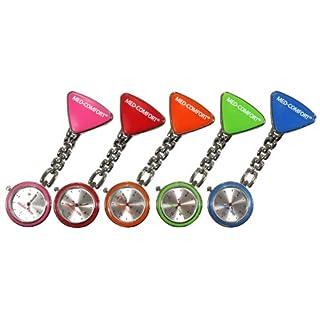 Schwesternuhr mit Clip, Pulsuhr, Krankenschwester, Pfleger, Uhr, 1 Stück Metallgehäuse (Rot)