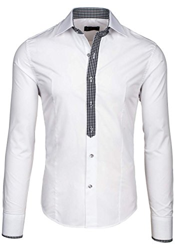 BOLF Herren Hemd Langarm Casual Business Men Slim Fit Shirt 2B2 Krawatte Weiß