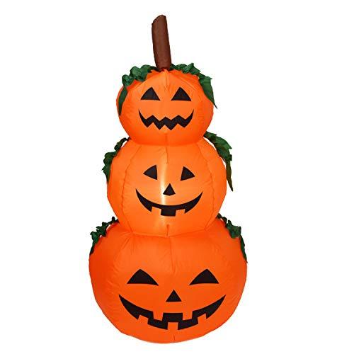 Migavan Halloween aufblasbare 3 Schicht-Kürbis-Laternen Roly-Poly Kunst-Dekorationen für Garten-Rasen im Freien Innen-EU-Stecker (Halloween-dekoration Freien Aufblasbare Im)