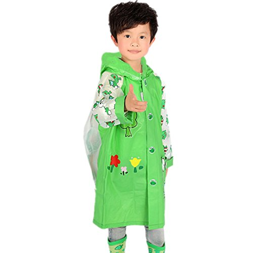 Boys and girls students raincoat hooded poncho with schoolbag bit