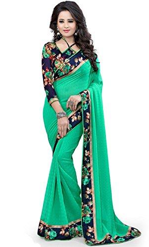 Zypara Women's Georgette Saree With Blouse Piece (K1009_Green)