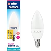 Ecozone LED biobulb, Energy Saving, Daylight Bulb, Screw Cap E14, 5.5W Equivalent to 40W, 470 Lumens, 6500K Daylight, Up To 88% Energy Saving, E14 Fitting, Up To 25,000 Hours Lifetime, Energy Class A+, Ideal for Hobbies, Crafts and Photography