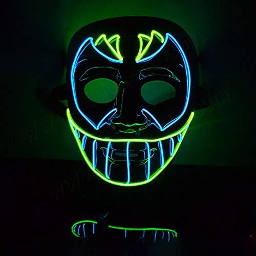 QXFJ Halloween Masken,LED Leuchten Maske Halloween Zweifarbige Neue EL-Line-Flash-Kaltlicht-Ghost-Step-Street-Dance-Horrormaske Halloween Cosplay Kostüm Maske (Step Dance Kostüm)