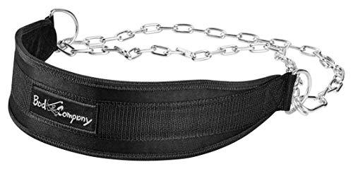 Bad Company Nylon Dip Gürtel I Gewichtsgürtel mit 140 cm Stahlkette und Karabinerhaken I Gewichtsbelastung bis zu 100 kg