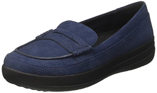 FitFlop Damen F-Sporty Penny Loafer Snake Slipper, Blau (Midnight Navy Snake-Embossed), 38.5 EU (Signature Schuhe Loafer)