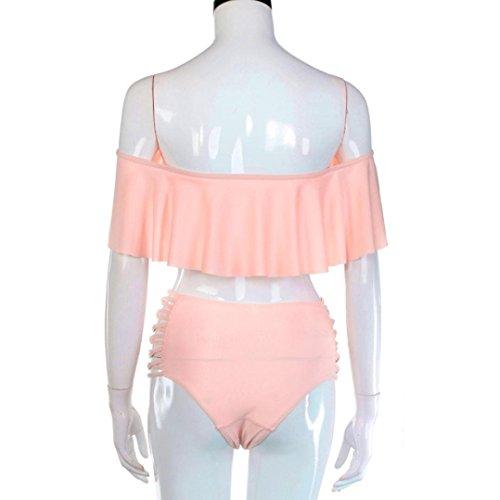 Damen Badeanzug Jamicy® Frauen Bandage Bikini Set Push-up gepolsterte BH Badeanzug Badeanzug Bademode Rosa