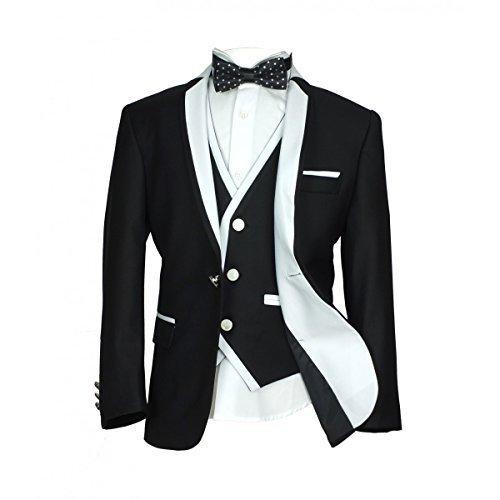 Jungen formelle Kleidung Exklusiv enge Passform schwarz Anzüge mit weißen Rohrleitung Pagen Hochzeit Ball Anzug Kommunion Anzug Baby Kleidung - Schwarz 5 Stück, 158 (Anzug 3 Schwarz Stück)