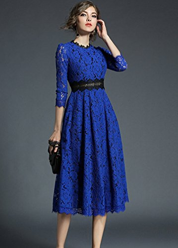 YiLianDa Donna Eleganti Pizzo Vintage Cerimonia Da Sera Maniche Lunghe Cocktail Vestito Blu
