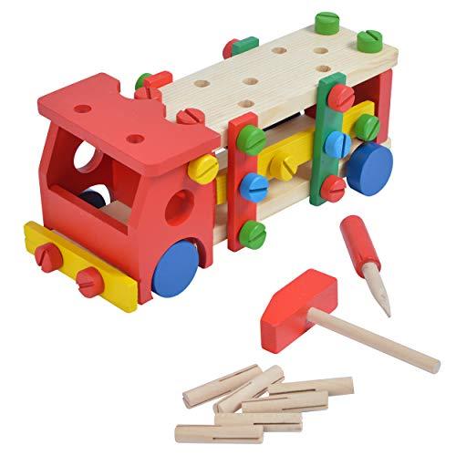 Pink Papaya Feuerwehr-Auto, Kinder Werkbank mit Werkzeug, Holz Motorik-Spielzeug