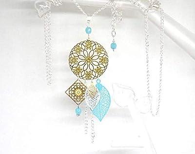 Long collier sautoir fleur fleuri feuilles doré vert menthe blanc acier inoxydable bohème chic idée cadeau femme Noël