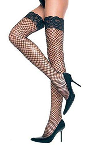 Preisvergleich Produktbild Neue Frauen schwarz Fischnetz Halterlose Strümpfe Strumpfwaren Fancy Dress Hen Night Dessous Unterwäsche eine Größe passend für die meisten