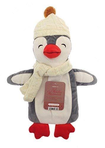 Kinder Wärmflasche mit Abdeckung 1L 100% Naturkautschuk Plüsch Peluche Kaninchen Koala Rentier Weihnachten Elf Rainbow Unicorn Geschenk Zubehör (grauer Pinguin)