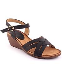 Unze Nouveautés Femme 'Eric' Open Toe Wedge Sandales Summer Beach Travel School School Carnival Chaussures Casual Taille UK 3-8