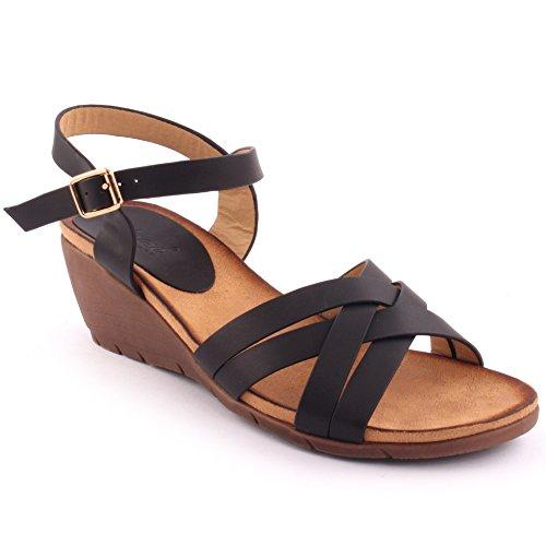 Unze Nouveautés Femme 'Eric' Open Toe Wedge Sandales Summer Beach Travel School School Carnival Chaussures Casual Taille UK 3-8 Noir