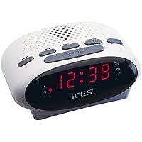 iCES ICR-210 Uhrenradio (2X Weckzeiten, Schlummerfunktion, Sleeptimer) weiß