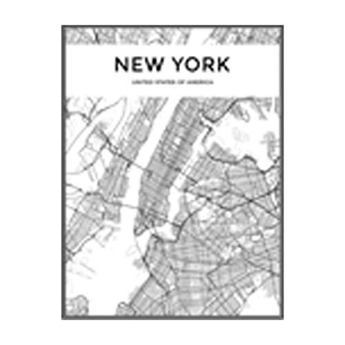 NBHHDH Bilder Auf Leinwand Moderne Schwarzweiss-New York-Stadtkarten-Reise-Kontur-Karten-Bilder-Leinwand-Malerei-Plakat-Druck-Wand-Kunst-Ausgangsdekoration, 60 × 80Cm Kein Rahmen -
