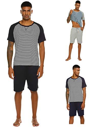 Pyjama Herren Kurz Schlafanzug Kurzarm Gestreiftes Jugend Schlafanzüge Zweiteiliger Anzug mit Top Streifen Hemd und Unifarbe Hosen für Sommer Schwarz L -
